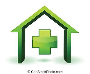 зеленый, здоровье, пересекать, дом