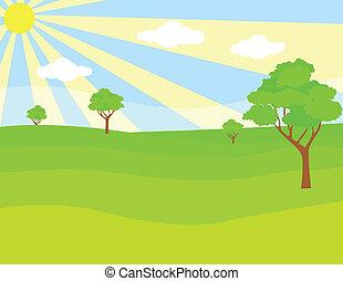 зеленый, пейзаж