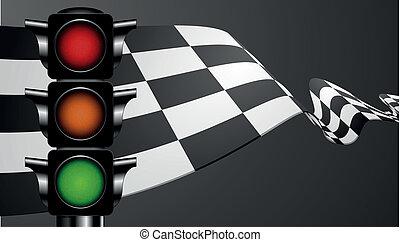 зеленый, флаг, гоночный, легкий