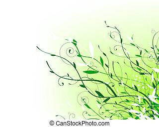 зеленый, цветочный