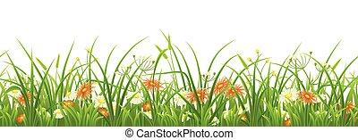 зеленый, цветы, трава, бесшовный