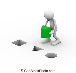 зеленый, placing, треугольник, 3d, человек