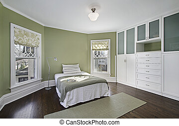 зеленый, walls, мастер, спальня