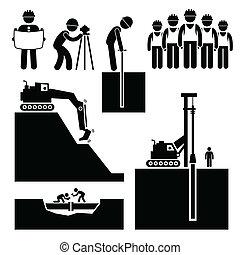 земляные работы, строительство, работник, icons