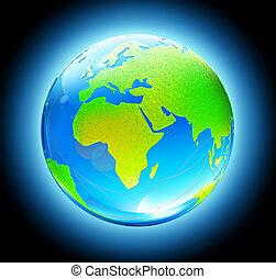 земля, земной шар, глянцевый