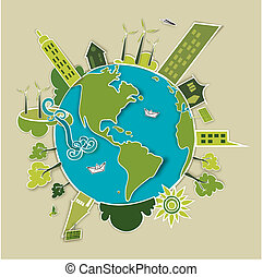 земля, концепция, зеленый