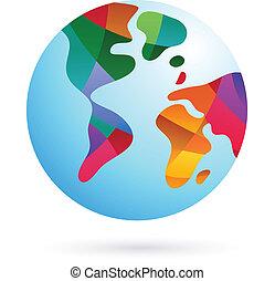 земля, красочный, мир, значок