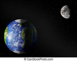 &, земля, луна