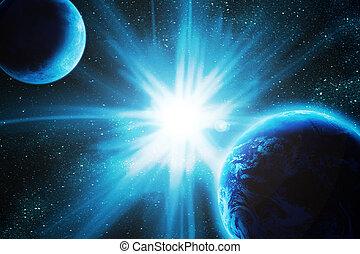 земля, луна, пространство