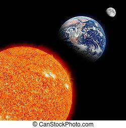 земля, луна, солнце, система, солнце
