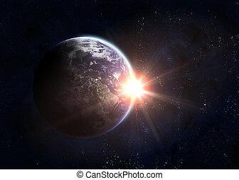земля, поднимающийся, солнце