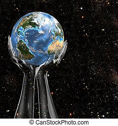 земля, руки, держать, пространство