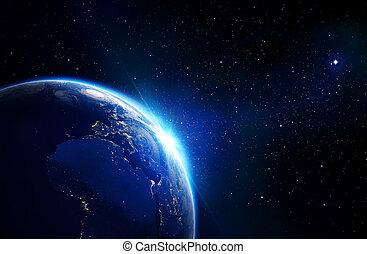земля, синий, -, горизонт, shining