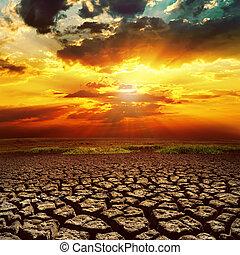 земля, фантастика, над, закат солнца, треснувший