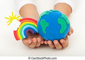 земля, экология, концепция, -, чистый