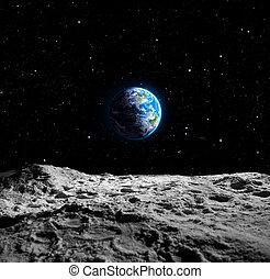 земля, views, луна
