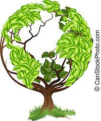 земной шар, дерево, зеленый, concep, земля, мир