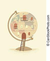 земной шар, иллюстрация, марочный, здание