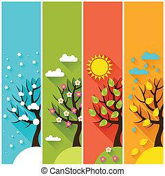 зима, вертикальный, весна, trees., осень, banners, лето