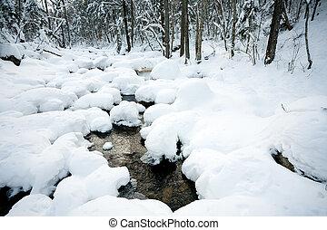 зима, под, снег, река, лес
