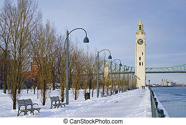 зима, часы, парк, снег, башня, река, монреаль
