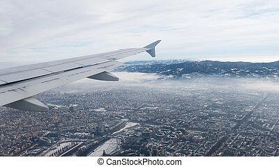зима, italy., clouds, pollution., torino, skylline., воздух, выше, туман, cityscape, антенна, смог, view., турин