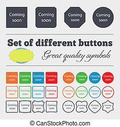 знак, объявление, symbol., продвижение, icon., скоро, high-quality, приход, задавать, красочный, buttons., разнообразный, большой