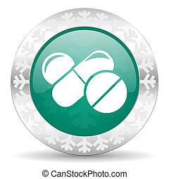 знак, рождество, drugs, pills, зеленый, кнопка, лекарственное средство, значок, символ