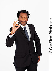 знак, afro-american, бизнесмен, хорошо, показ