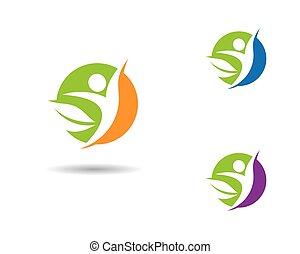 значок, жизнь, вектор, здоровый, шаблон, логотип