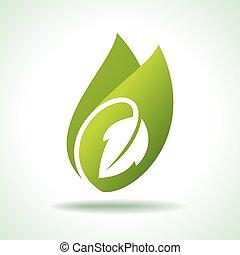 значок, свежий, зеленый, лист