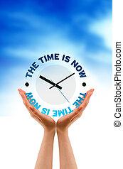 значок, теперь, время, держа, рука