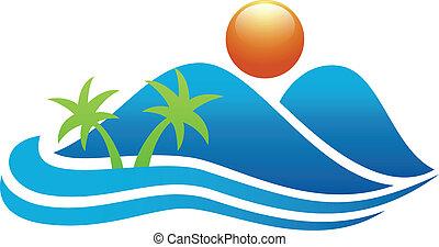 значок, тропический, остров