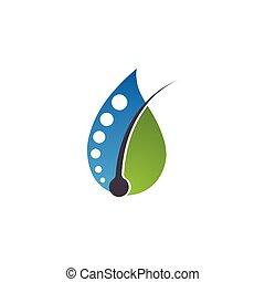 значок, фолликул, волосы, лечение, вектор, логотип