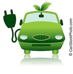 значок, электрический, гибридный, автомобиль, зеленый