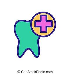 значок, contour, зуб, иллюстрация, лечение, символ, isolated, vector.