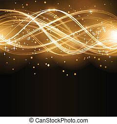 золотой, абстрактные, волна, число звезд:, шаблон