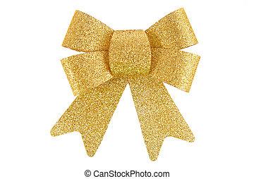 золотой, белый, лук, isolated, задний план