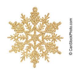 золотой, белый, isolated, снежинка