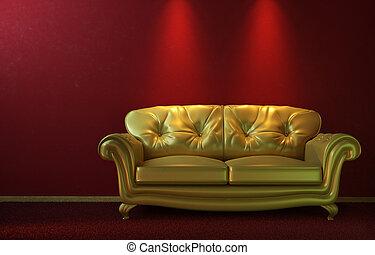 золотой, глэм, красный, диван