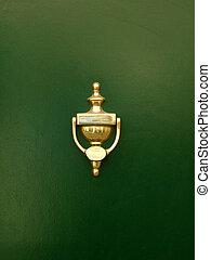 золотой, дверь, дверной молоток