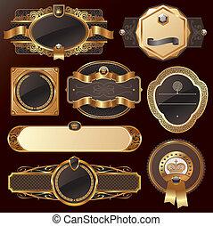 золотой, задавать, вектор, роскошь, богато украшенный, frames