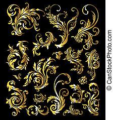 золотой, задавать, марочный, орнамент, украшение, elements, цветочный