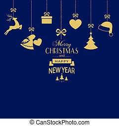 золотой, задний план, задавать, темно, подвешивание, рождество, синий, ornaments