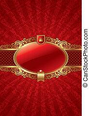 золотой, обрамленный, вектор, роскошь, задний план, богато украшенный, метка