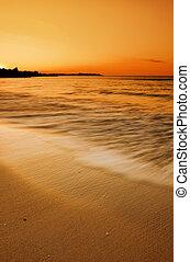 золотой, пляж, закат солнца