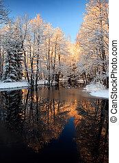 золотой, река, закат солнца, зима