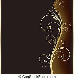 золотой, elements, темно, элегантный, дизайн, задний план, цветочный