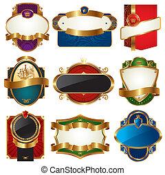 золотой, labels, коллекция, богато украшенный