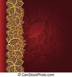 золотой, leaves, граница, карта, красный